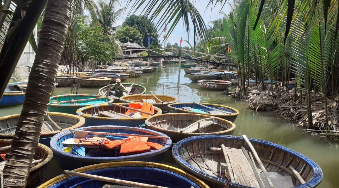 people in basket boats